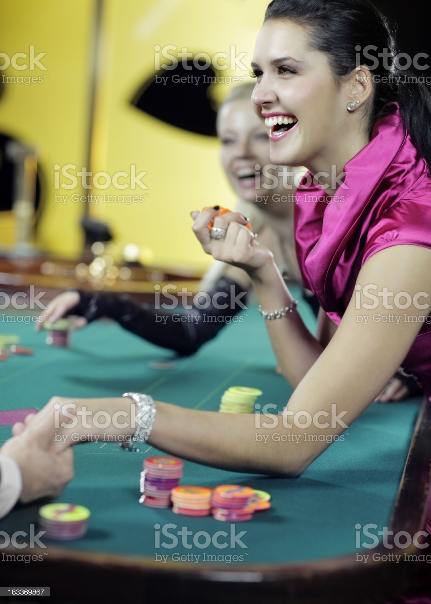 girl playing roulett in the casino royalty-free stock photo
