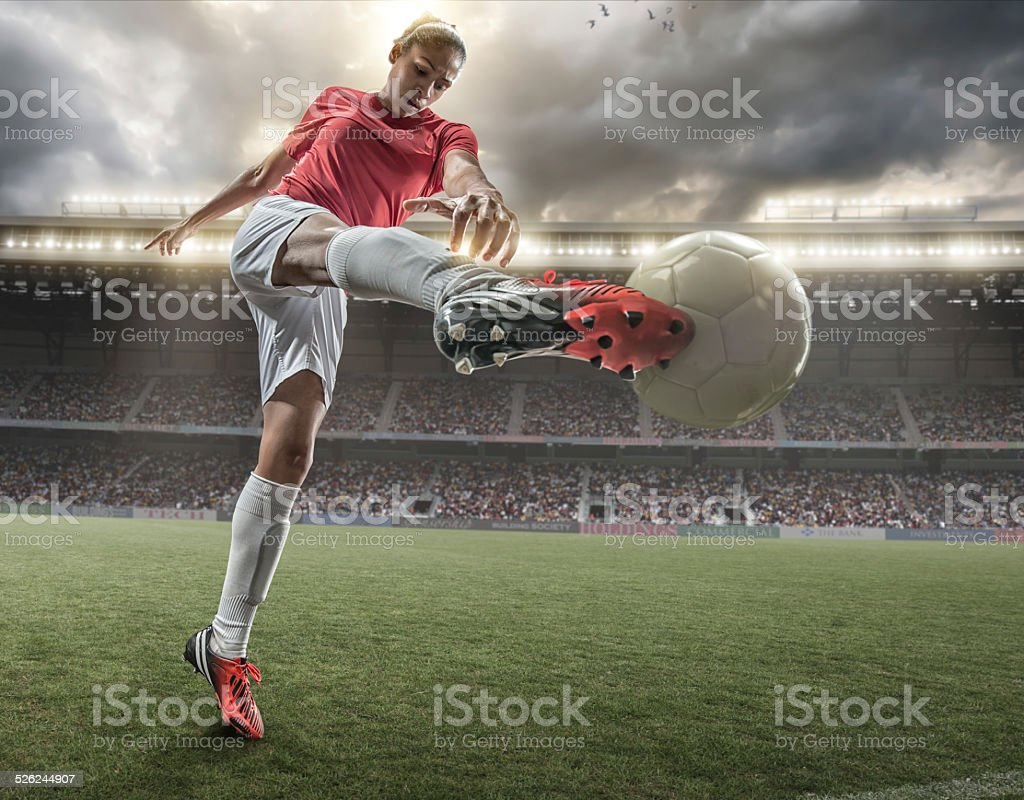 Girl Playing Soccer stock photo