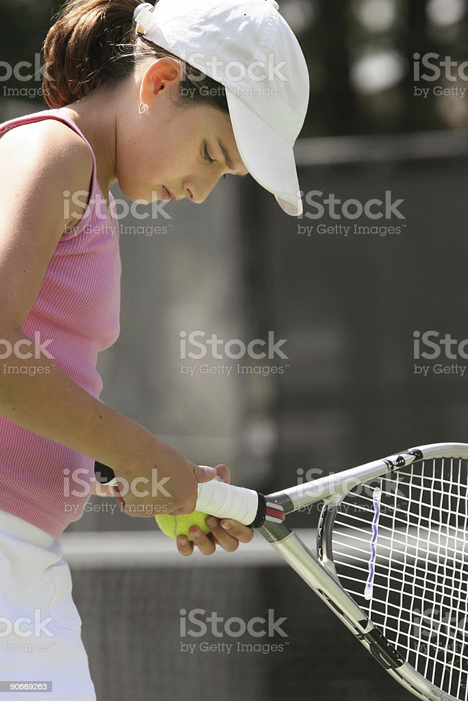 Girl playing tennis royalty-free stock photo