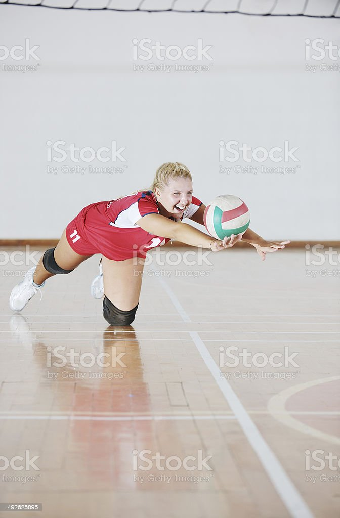 girl playing volleyball game royalty-free stock photo