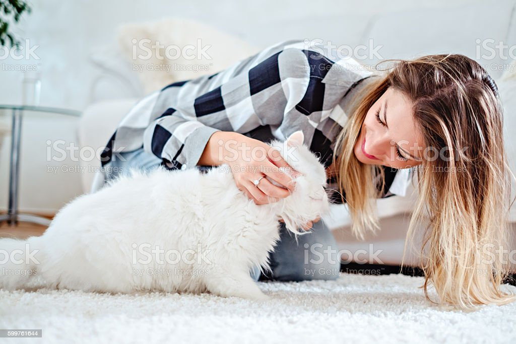 Girl playing with her white cat stock photo