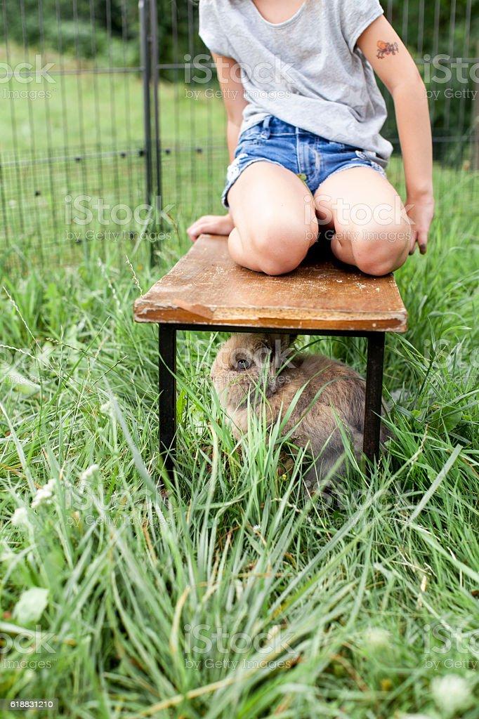 Mädchen spielt mit Kaninchen stock photo