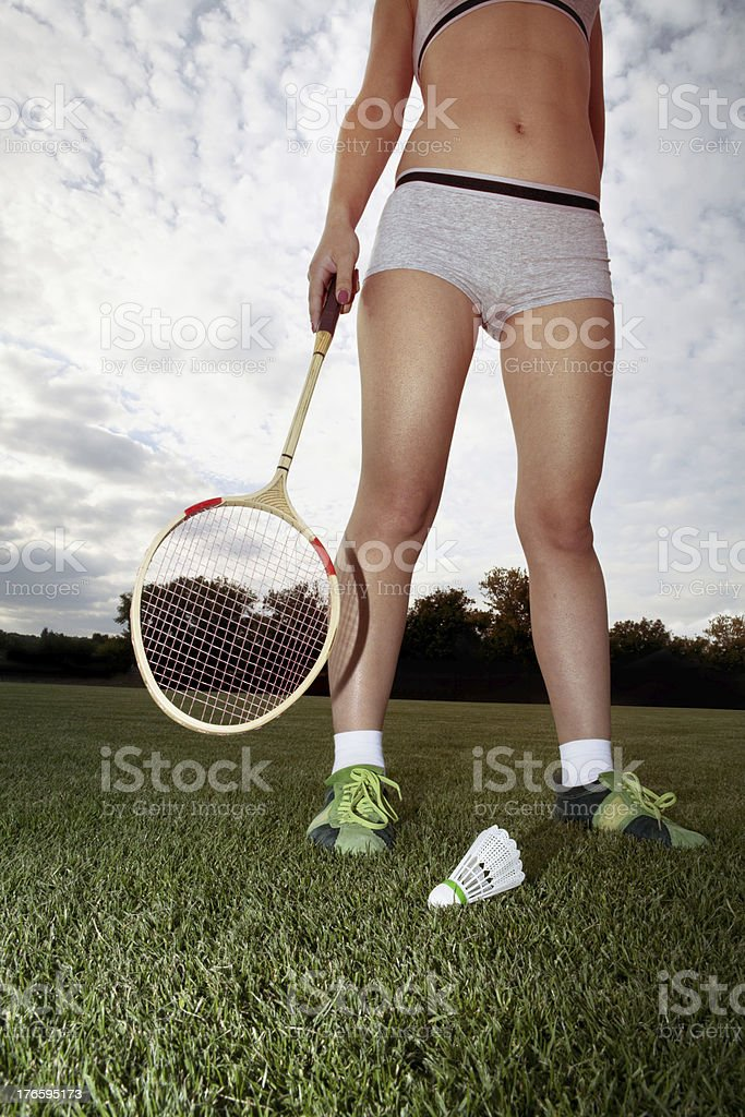 girl plays badminton royalty-free stock photo