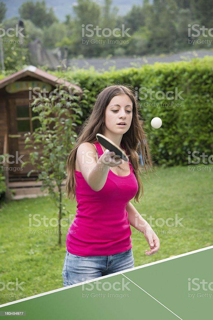 girl plays ping pong royalty-free stock photo