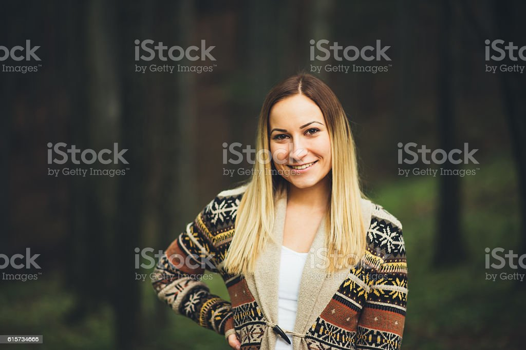 girl portrait in the forest stock photo