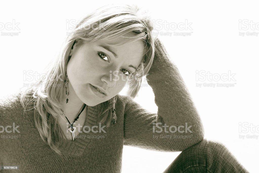 Girl portrait on white background 6 royalty-free stock photo