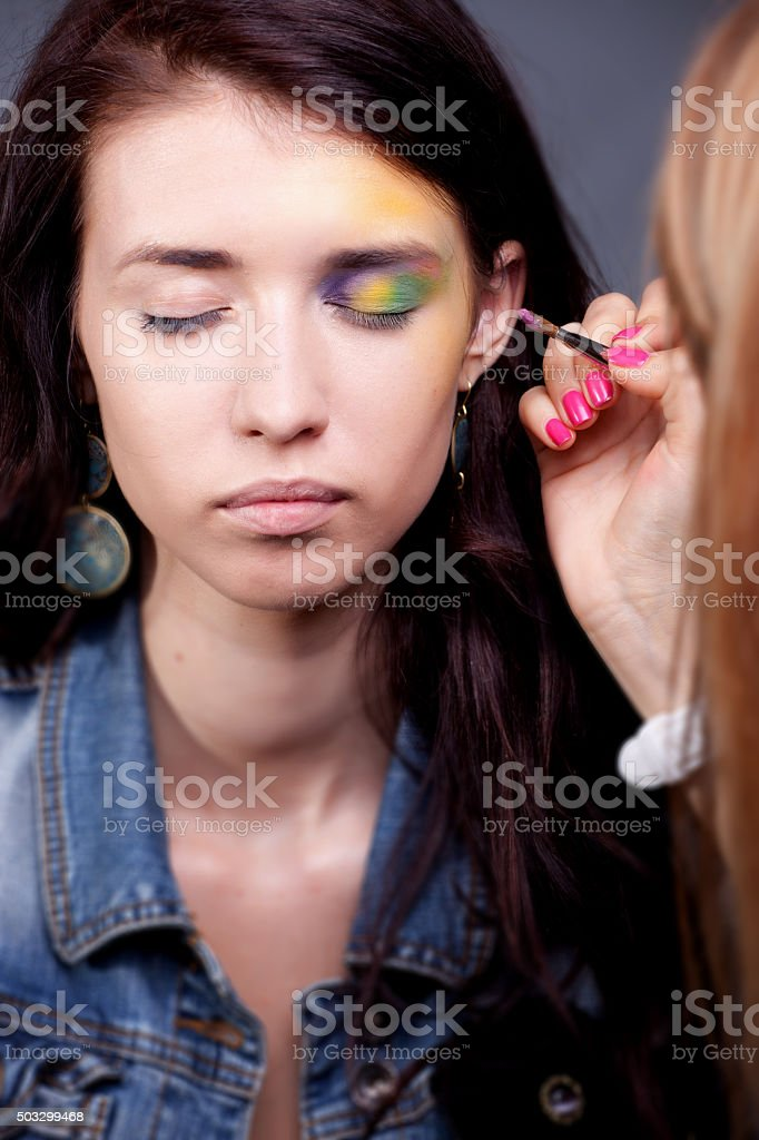 Girl portrait with bright makeup stock photo