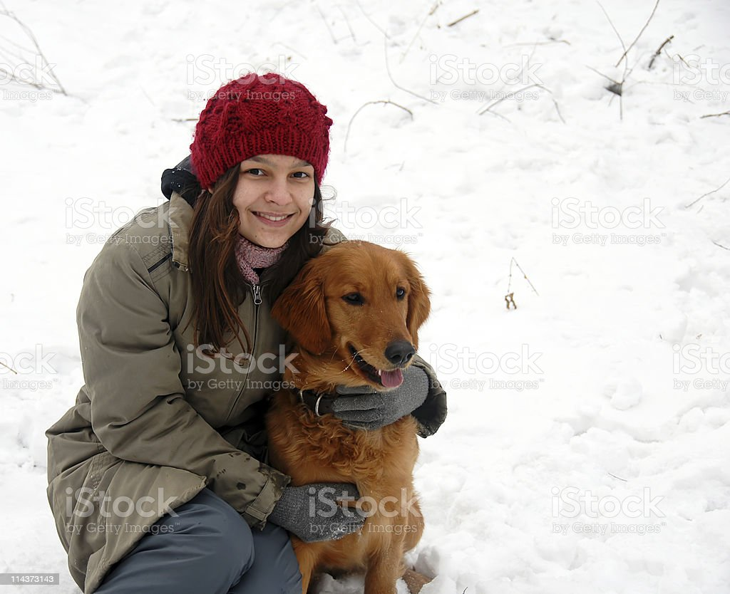 Girl portrait with her dog royalty-free stock photo