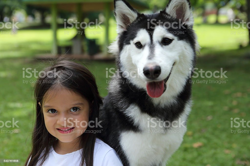 Girl Poses with Her Beautiful Dog in The Park stock photo