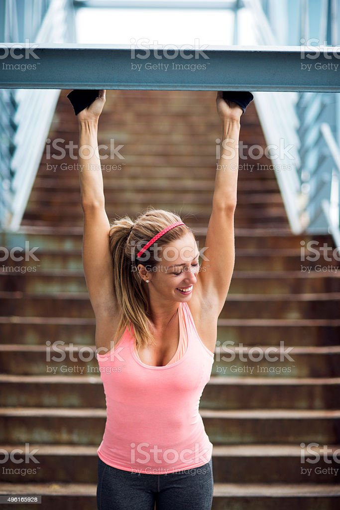 Girl posing after workout stock photo