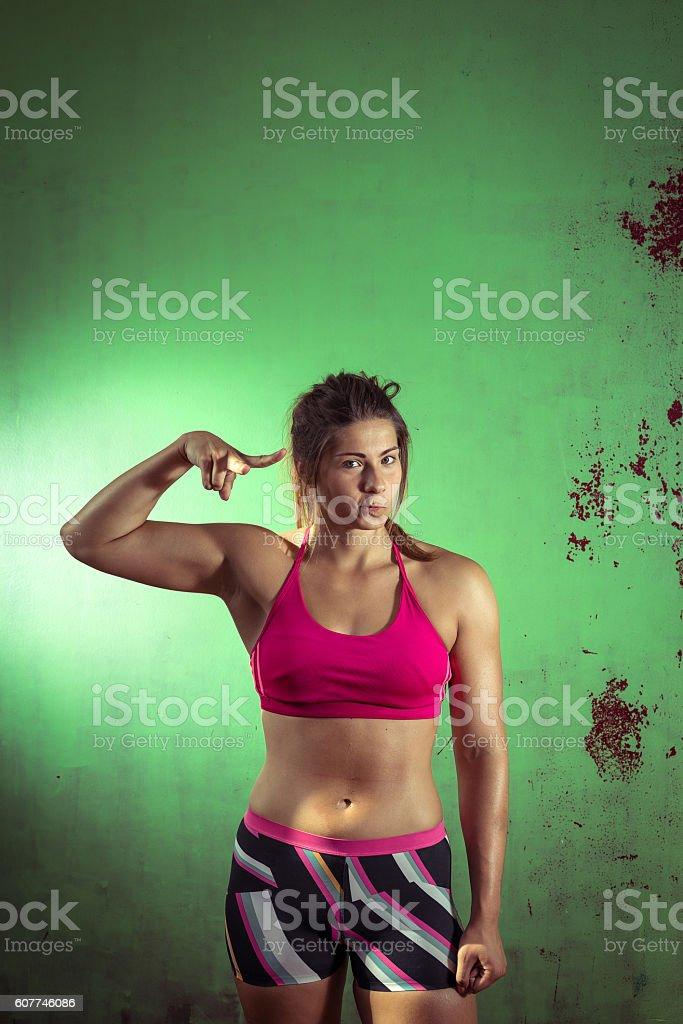 Girl posing in gym stock photo