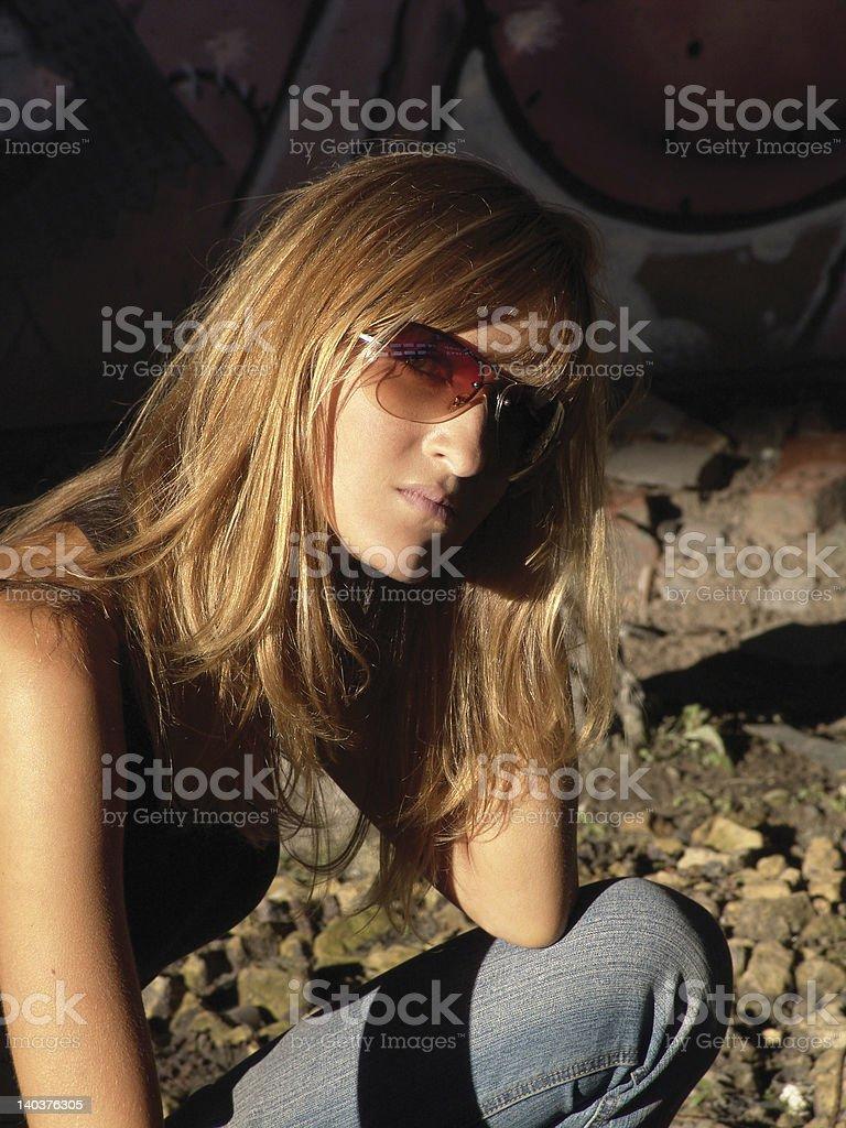 Girl posing in sun glasses royalty-free stock photo