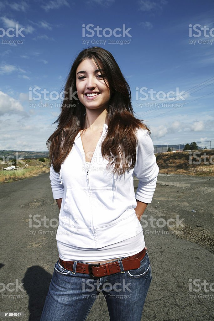 Girl Posing on a Road royalty-free stock photo