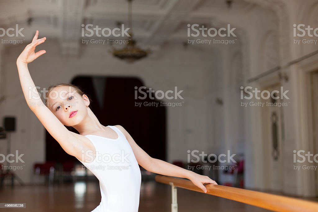 girl practicing ballet stock photo