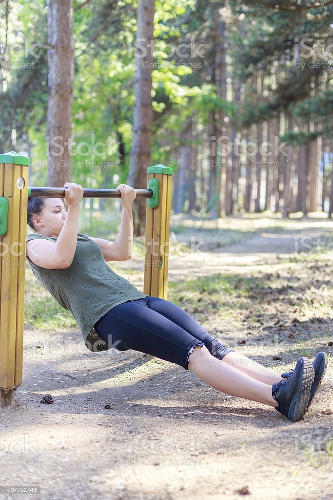 Girl practicing fitness stock photo
