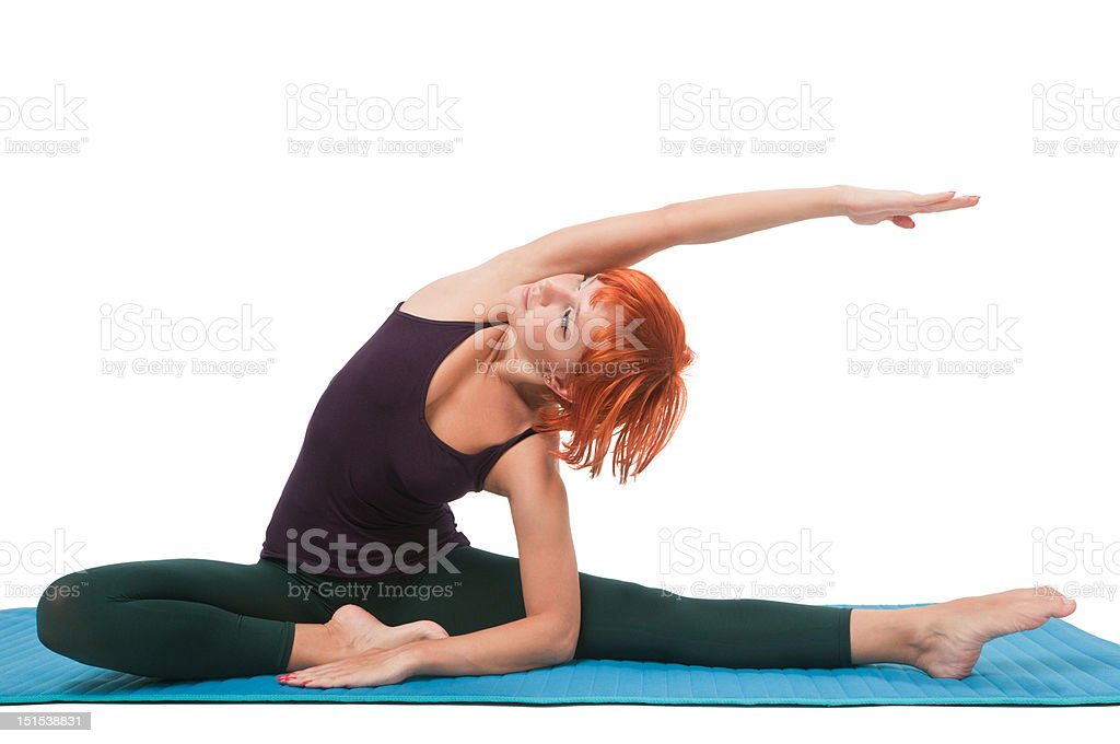 Girl practicing yogatic asana royalty-free stock photo
