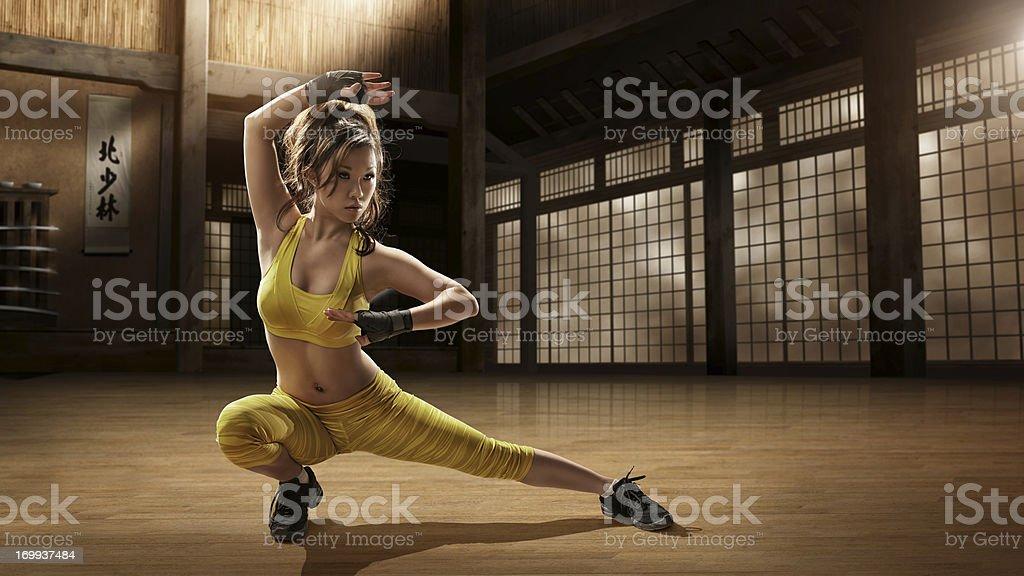 Girl Practising Martial Arts in Dojo royalty-free stock photo