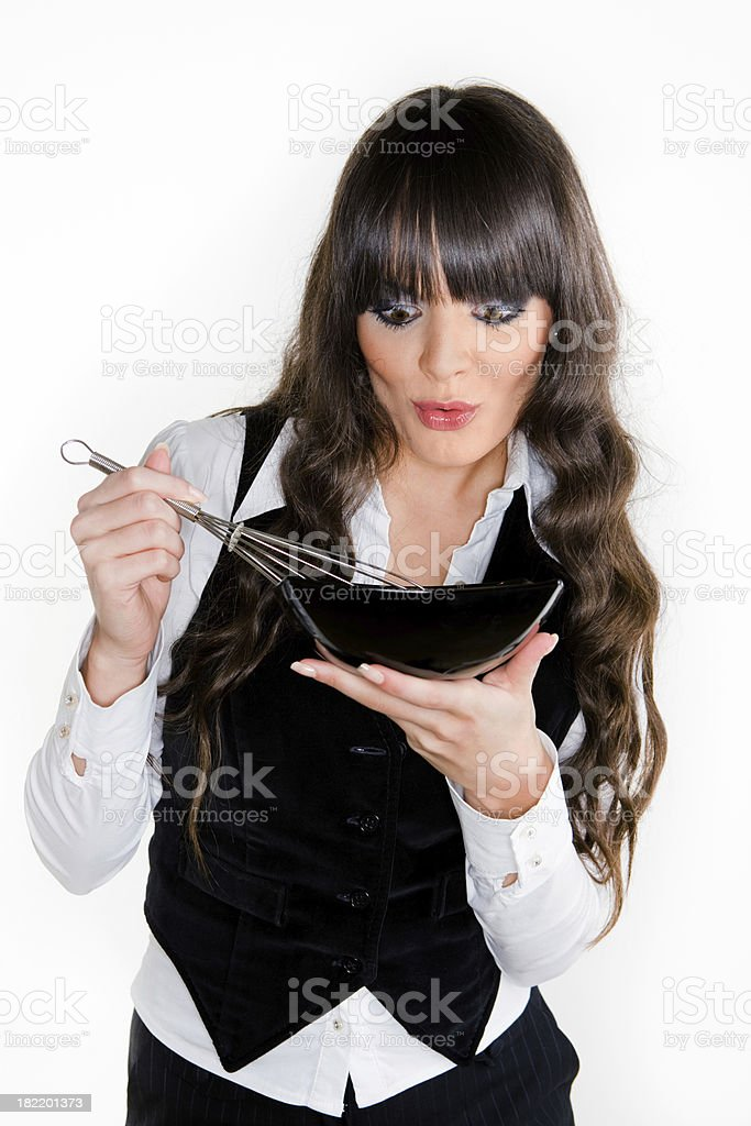 Girl preparing meal royalty-free stock photo