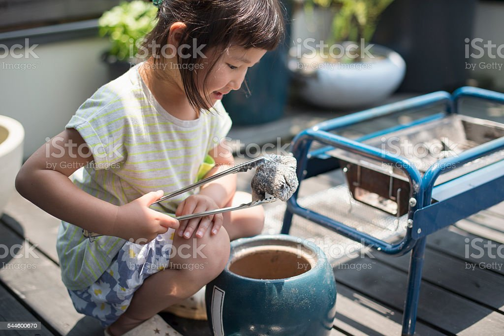 Girl preparing the barbecue charcoal stock photo