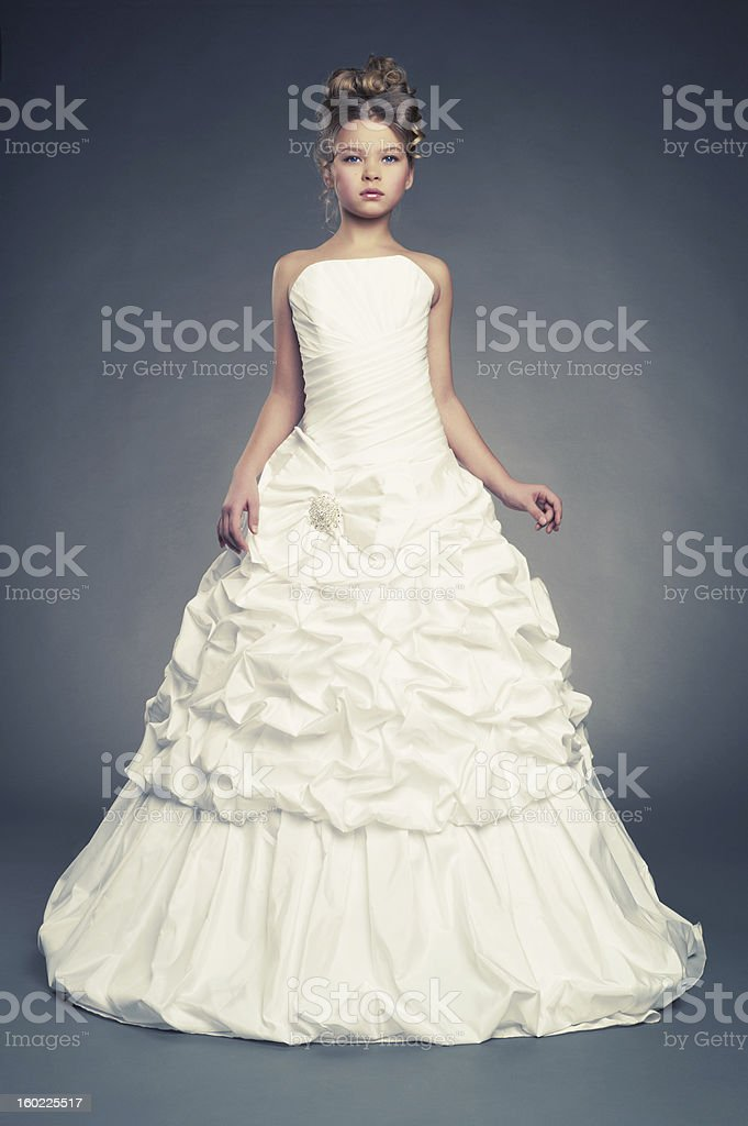 Girl princess in white ball gown royalty-free stock photo