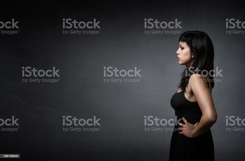 girl profile side view stock photo