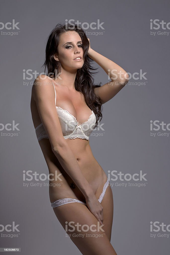 Girl pulling down her panties royalty-free stock photo