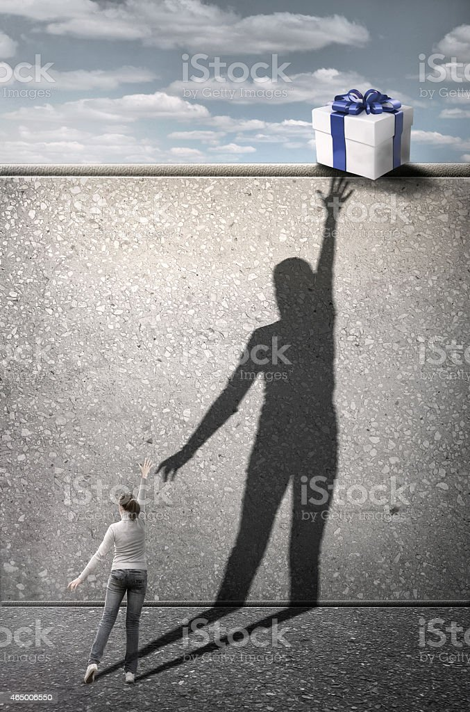 Girl reaches for the gift. Concept digital graphic. stock photo