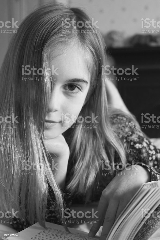 Girl reading a book. royalty-free stock photo