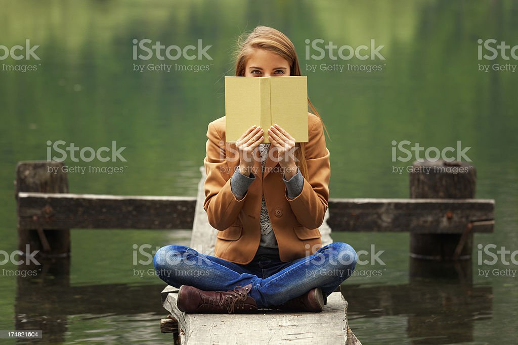 girl reading in the nature royalty-free stock photo
