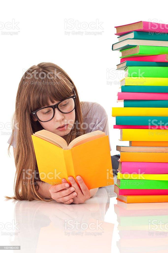 girl reading on floor royalty-free stock photo
