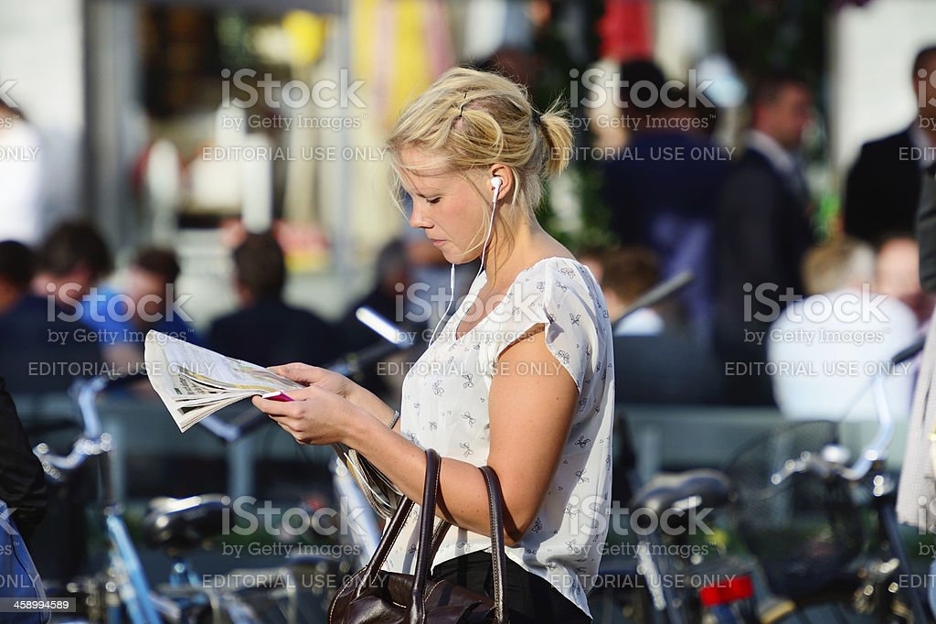 Girl reading paper royalty-free stock photo