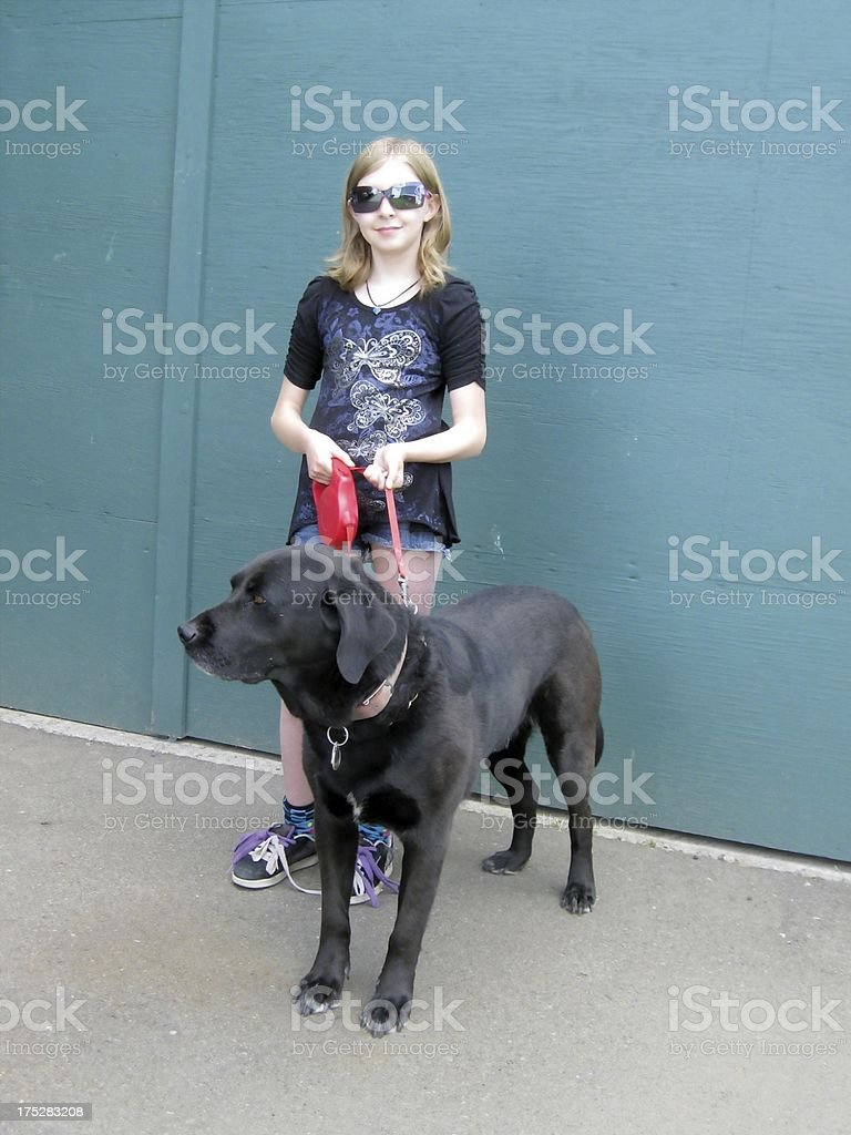 Girl ready for the dog show royalty-free stock photo