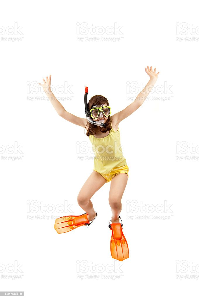 Girl ready to dive royalty-free stock photo