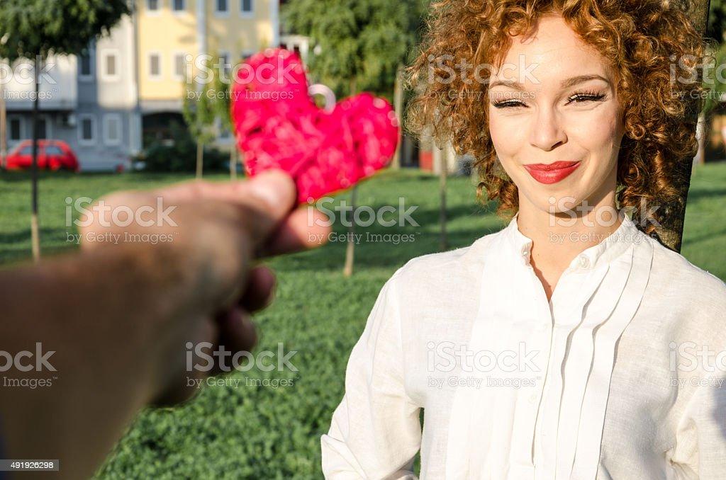 Girl receives a gift stock photo