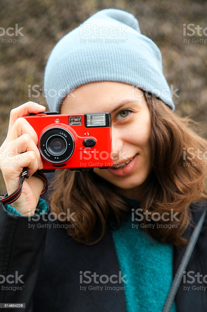 girl, red camera, hipster, stock photo