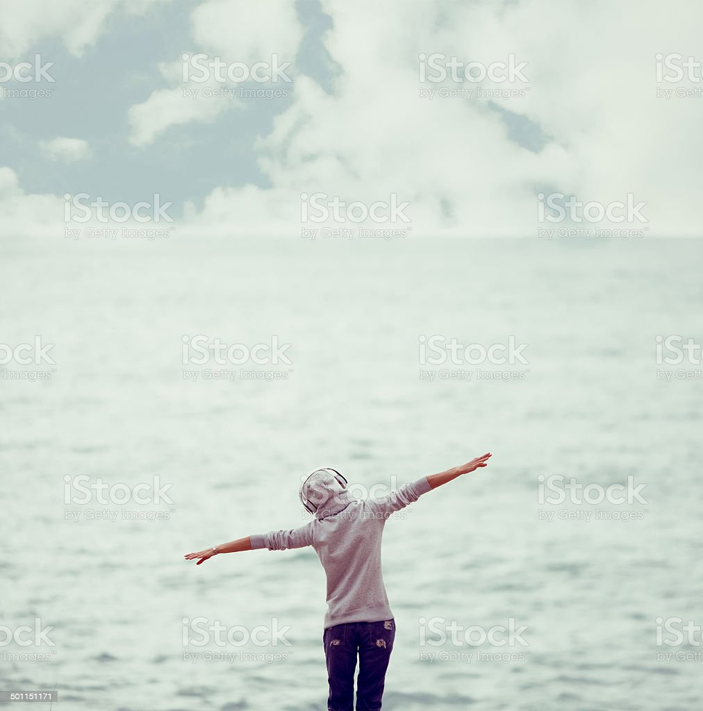 girl relax music ashore royalty-free stock photo