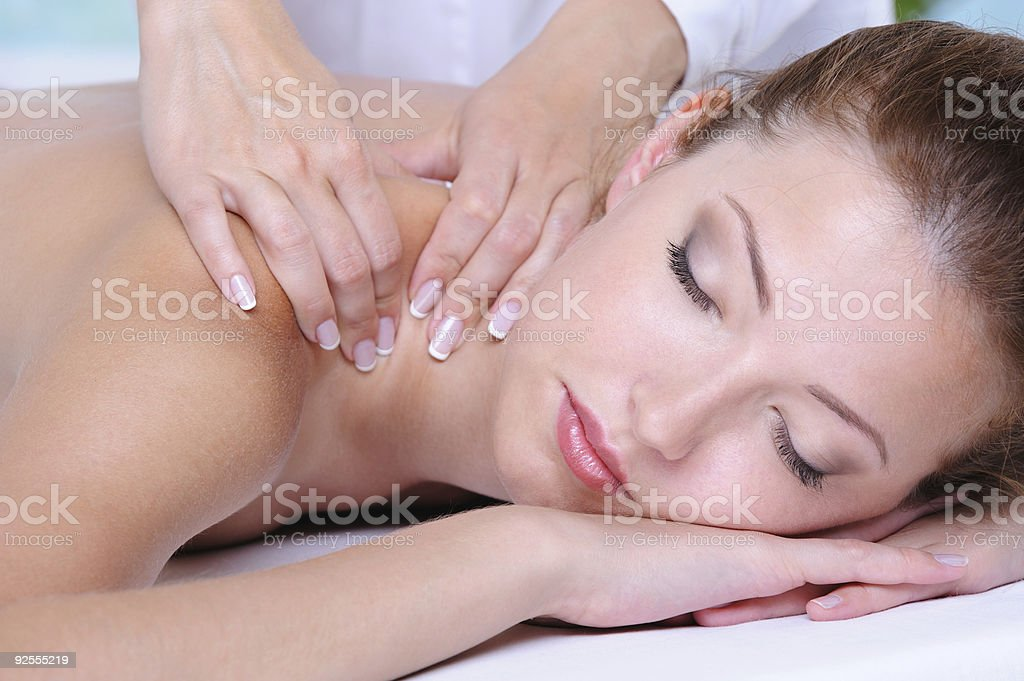 Girl relaxation in the spa salon stock photo