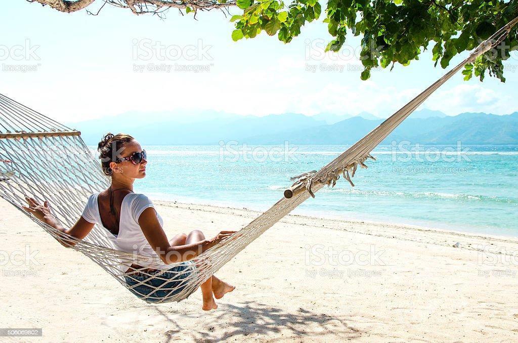 Girl Relaxing In Hammock - Stock image stock photo
