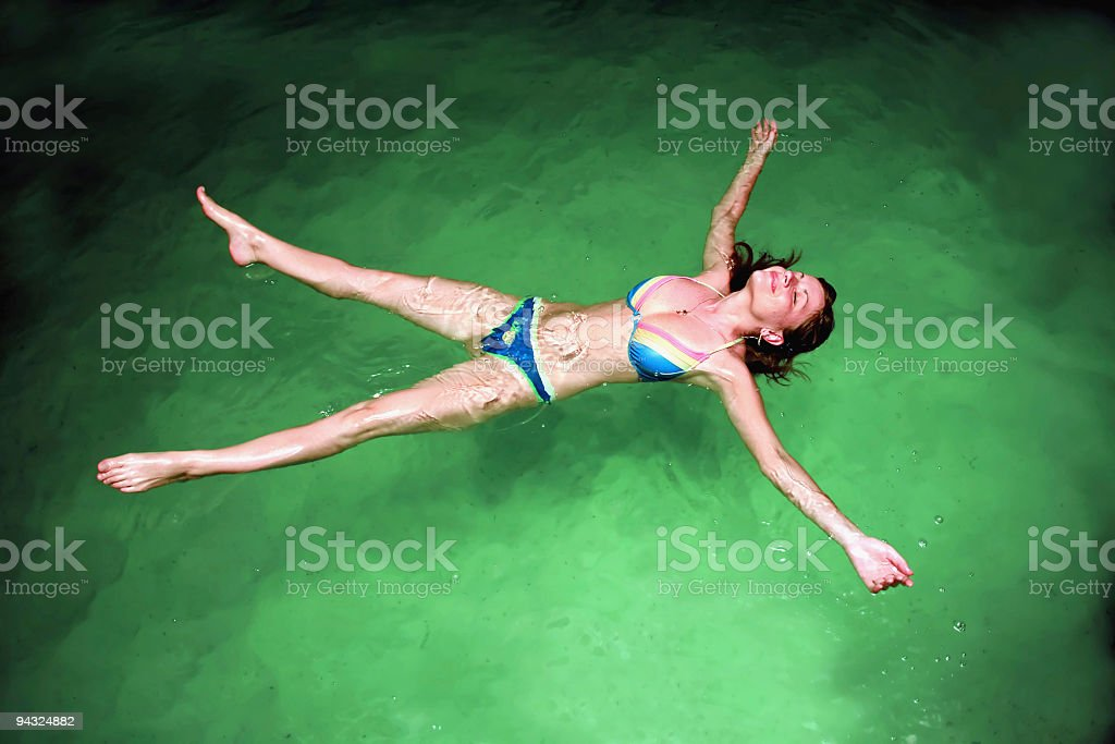 Girl relaxing in healthly water royalty-free stock photo
