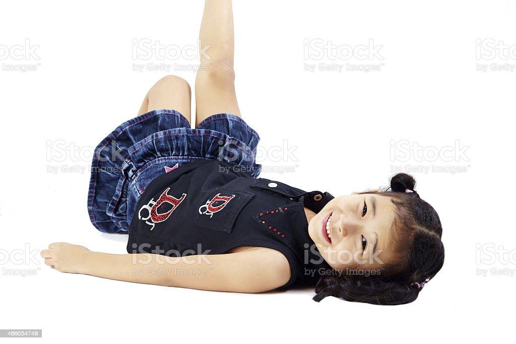 Girl Relaxing on the Floor stock photo