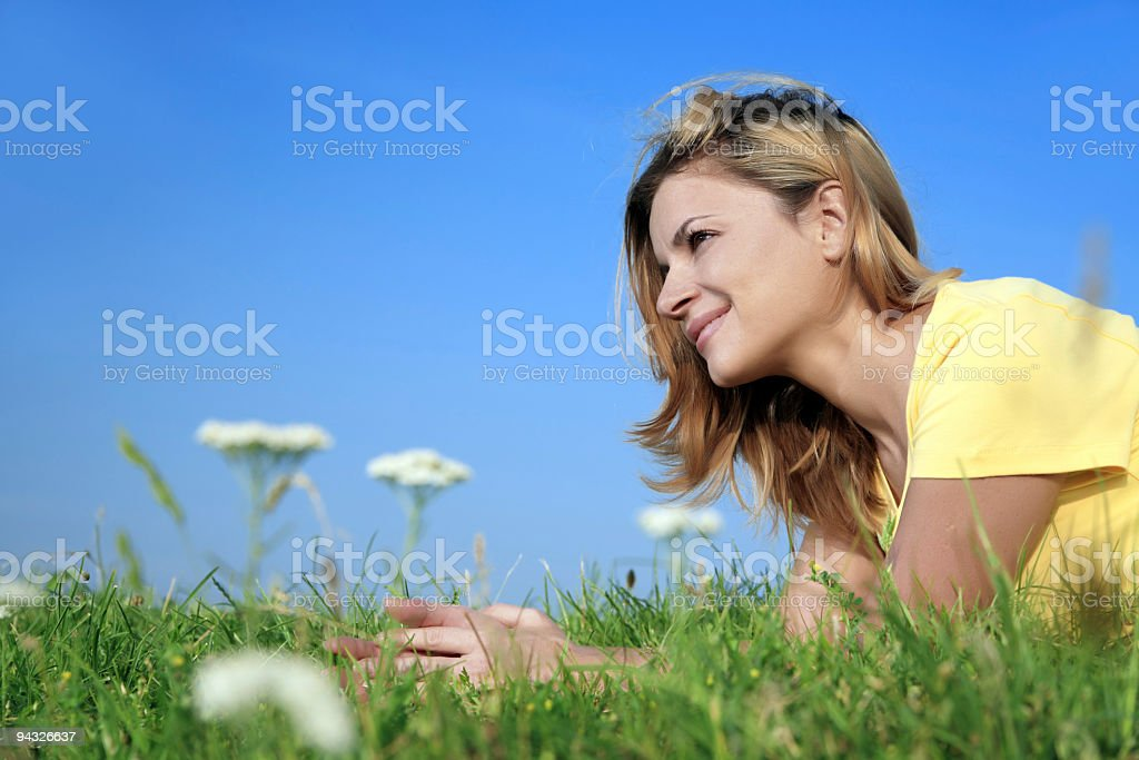 Girl relaxing on the park. royalty-free stock photo