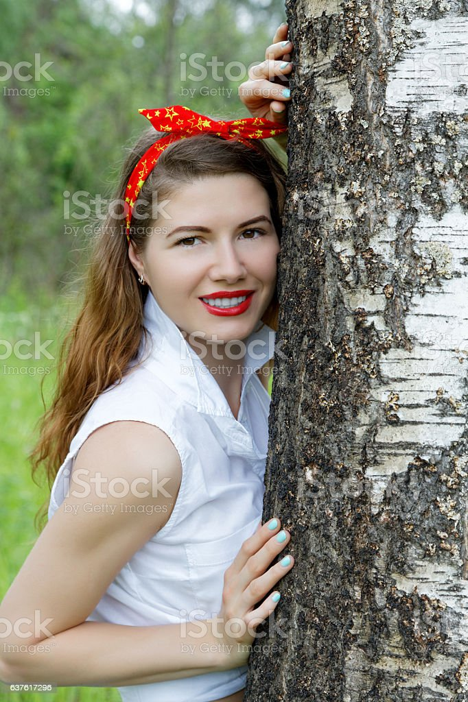 Girl resting in the forest summer stock photo