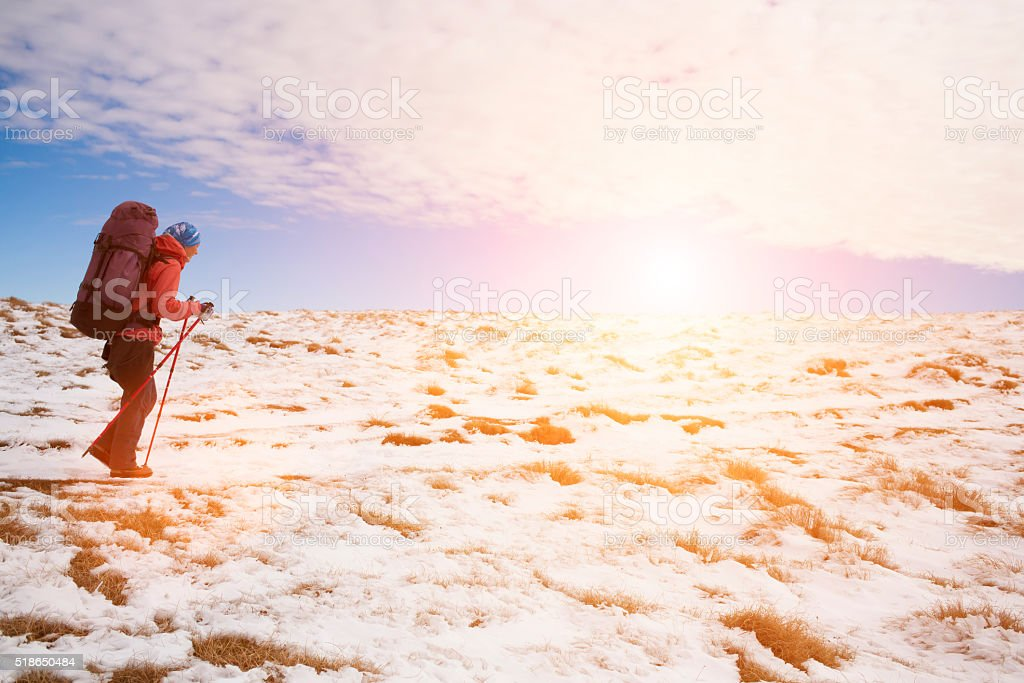 Girl resting in the mountains. stock photo