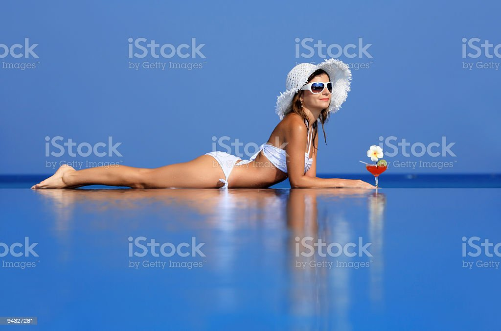 Girl resting on the water. royalty-free stock photo