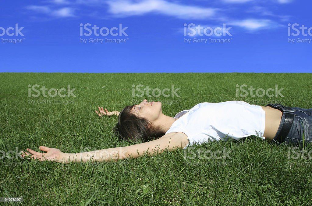 Girl rests on herb royalty-free stock photo
