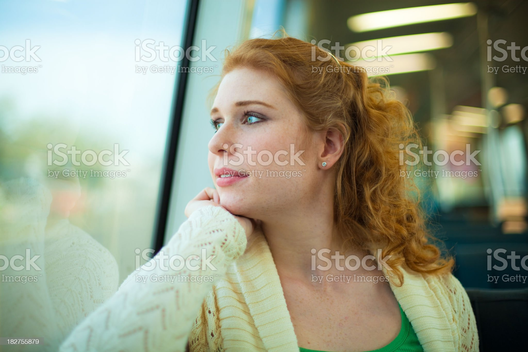 Girl Riding a Commuter Rail Train royalty-free stock photo