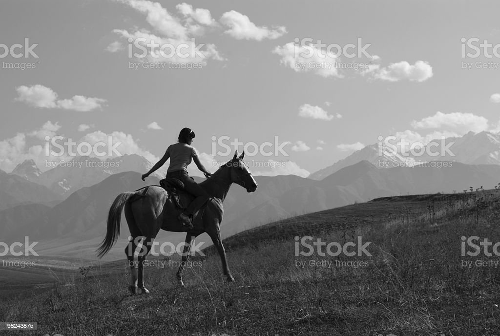 Girl riding a horse in the mountains stock photo