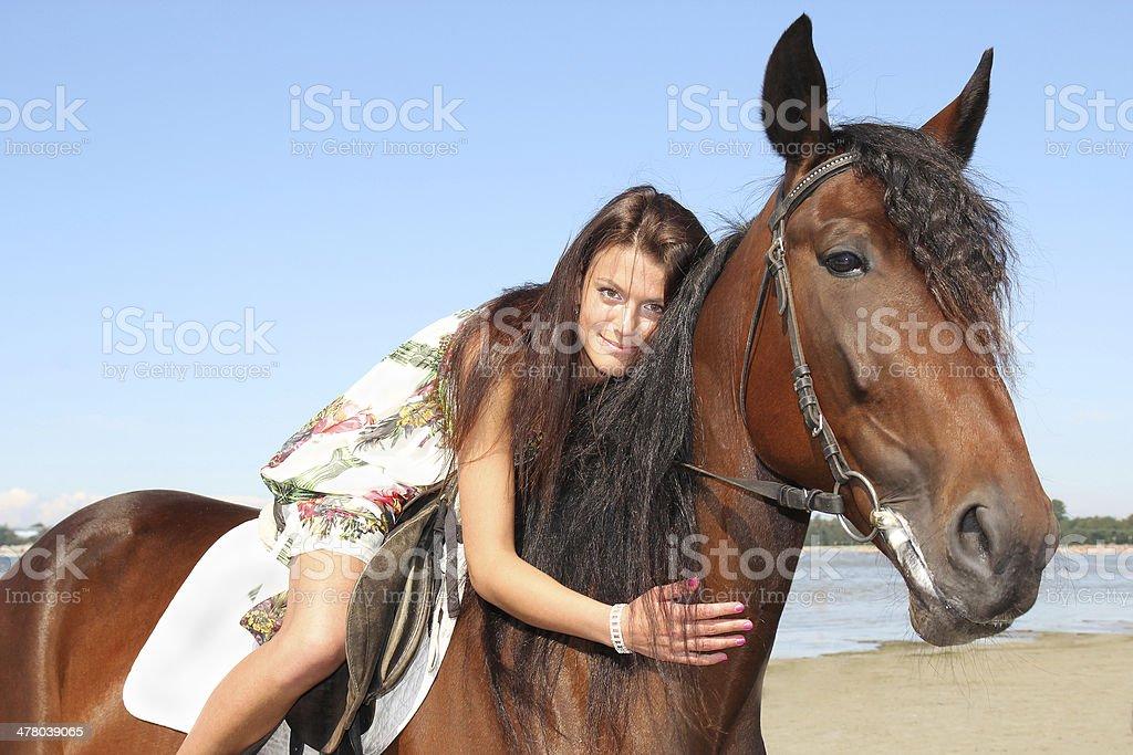 girl riding a horse royalty-free stock photo
