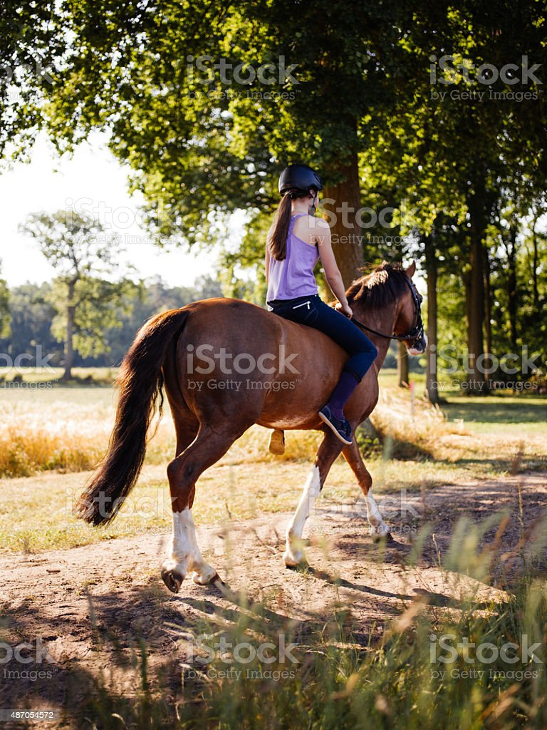 Girl riding her horse down a sunlit park lane stock photo