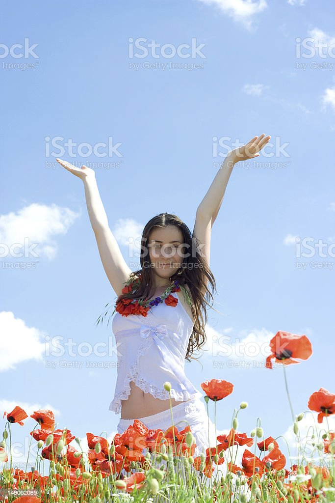 girl rising up her hands royalty-free stock photo